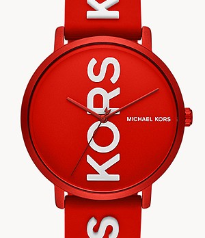 Michael Kors Charley Three-Hand Red Silicone Watch