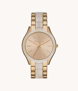 Michael Kors Slim Runway Three-Hand Gold Tone with Acetate Watch