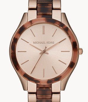 Michael Kors Slim Runway Three-Hand Pale Pink Steel with Acetate Watch
