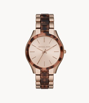 Michael Kors Slim Runway Three-Hand Pale Pink Stainless Steel with Acetate Watch