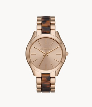 Michael Kors Slim Runway Three-Hand Beige Gold Steel with Acetate Watch
