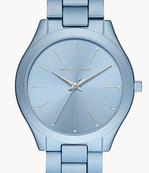 Michael Kors Slim Runway Three-Hand Blue Aluminum Watch