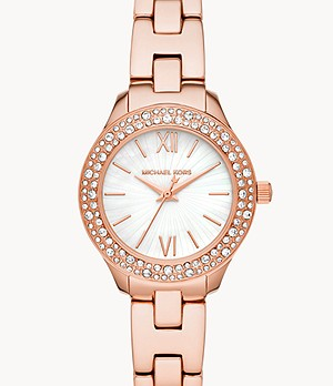 Michael Kors Liliane Three-Hand Rose Gold-Tone Stainless Steel Watch