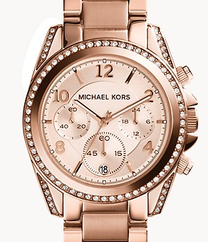 Michael Kors Women's Blair Chronograph Rose Gold-Tone Stainless Steel Watch