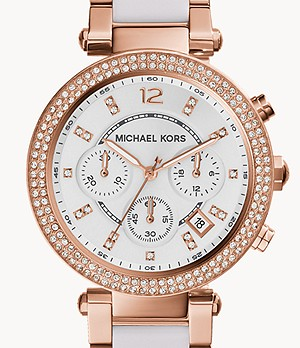 Michael Kors Women's Parker Chronograph Two-Tone Stainless Steel Glitz Watch