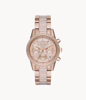 Michael Kors Women's Ritz Chronograph Rose Gold-Tone Steel Watch