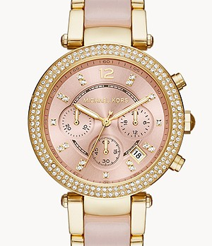 Michael Kors Women's Parker Chronograph Pink Acetate and Gold-Tone Stainless Steel Watch