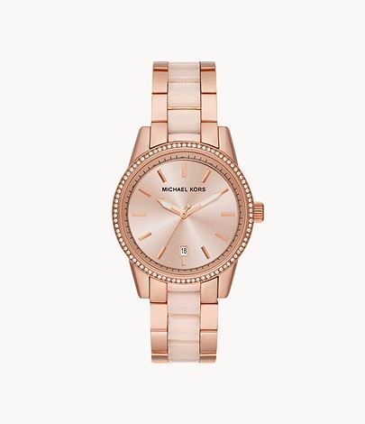 Michael Kors Women S Ritz Three Hand Date Rose Gold Tone Stainless Steel Watch Mk6349 Watch Station