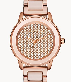 Michael Kors Women's Kinley Three-Hand Blush Acetate and Rose Gold-Tone Stainless Steel Watch