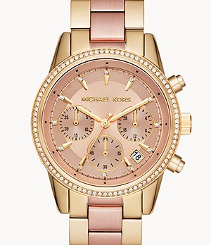 Montre chronographe en acier inoxydable bicolore Ritz Michael Kors