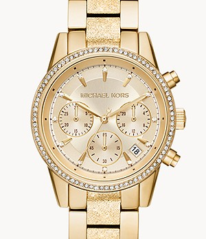 Michael Kors Women's Ritz Chronograph Gold-Tone Stainless Steel Watch