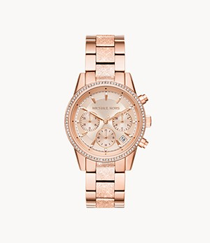 Michael Kors Women's Ritz Chronograph Rose Gold-Tone Stainless Steel Watch