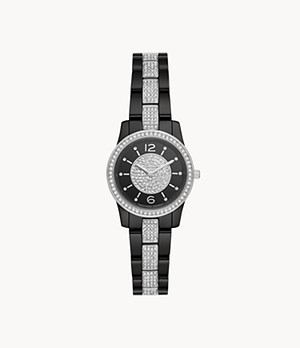 Michael Kors Women's Runway Two-Hand Black Ceramic Watch