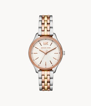 Michael Kors Women's Lexington Three-Hand Tri-Tone Stainless Steel Watch