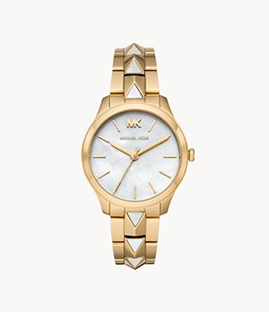 Michael Kors Women's Runway Three-Hand Gold-Tone Stainless Steel Watch