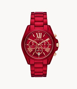 Michael Kors Women's Bradshaw Chronograph Red Stainless Steel Watch
