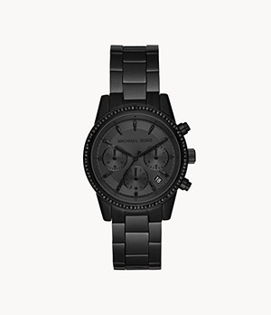 Michael Kors Women's Ritz Chronograph Black Stainless Steel Watch