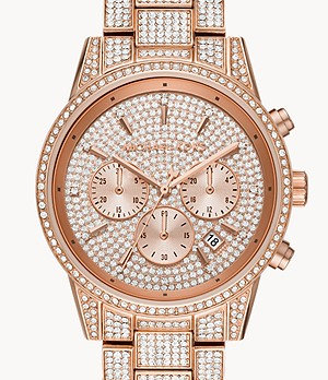 Michael Kors Ritz Three-Hand Glitz Rose Gold-Tone Stainless Steel Watch