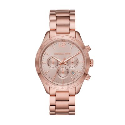 Michael Kors Layton Chronograph Pale Rose Gold-Tone Stainless Steel Watch - MK6796 - Watch Station