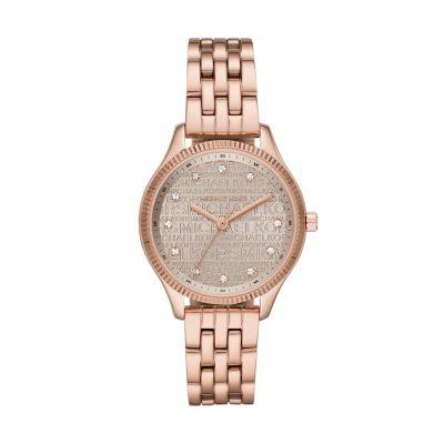 Michael Kors Lexington Three-Hand Rose Gold-Tone Stainless Steel Watch - MK6799 - Watch Station