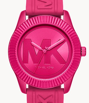 Michael Kors Maddye Three-Hand Pink Silicone Watch