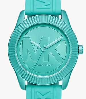 Michael Kors Maddye Three-Hand Aqua Silicone Watch