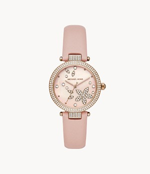 Michael Kors Parker Three-Hand Blush Leather Watch