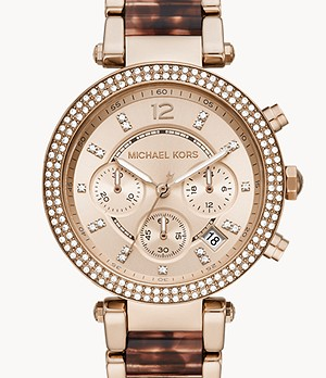 Michael Kors Parker chronograph Pale Rose Steel with Acetate watch