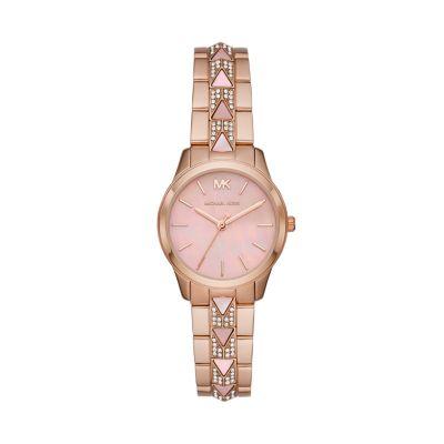 Michael Kors Runway Mercer Three-Hand Rose Gold-Tone Stainless Steel Watch - MK6856 - Watch Station