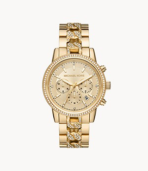 Michael Kors Ritz Chronograph Gold-Tone Stainless Steel Watch
