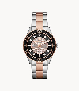 Michael Kors Runway Three-Hand Two-Tone Stainless Steel Watch