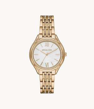 Michael Kors Women's Mindy Three-Hand Gold-Tone Stainless Steel Watch