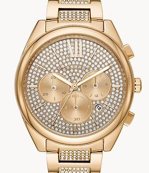 Michael Kors Women's Janelle Chronograph Gold-Tone Stainless Steel Watch