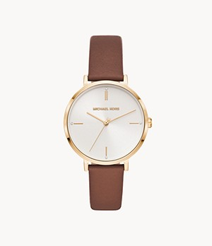 Michael Kors Women's Jayne Three-Hand Brown Leather Watch