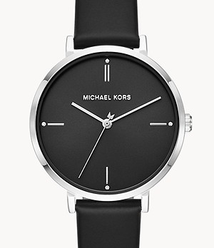 Michael Kors Women's Jayne Three-Hand Black Leather Watch