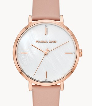 Michael Kors Women's Jayne Three-Hand Blush Leather Watch