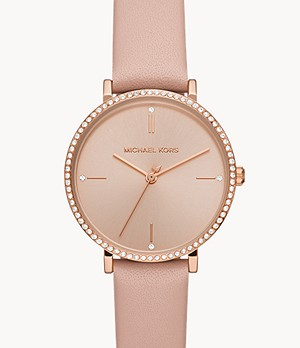 Michael Kors Mini Jayne Three-Hand Blush Leather Watch
