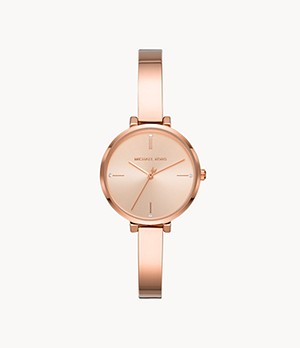 Michael Kors Mini Jayne Three-Hand Rose Gold-Tone Stainless Steel Watch