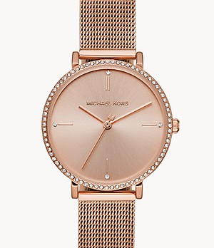 Michael Kors Mini Jayne Three-Hand Gold-Tone Steel Watch