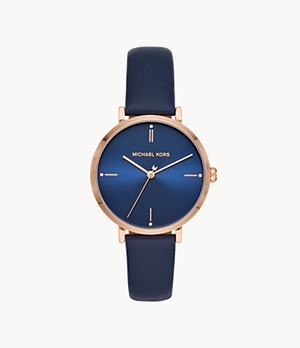 Michael Kors Jayne Three-Hand Navy Leather Watch