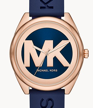 Michael Kors Janelle Three-Hand Navy Silicone Watch