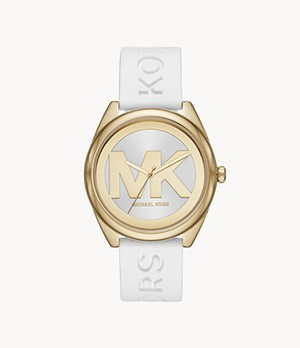 Michael Kors Janelle Three-Hand White Silicone Watch