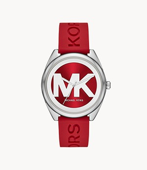Michael Kors Janelle Three-Hand Berry Silicone Watch