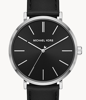 Michael Kors Auden Three-Hand Black Leather Watch