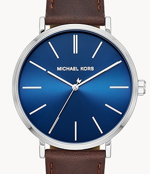 Michael Kors Auden Three-Hand Brown Leather Watch