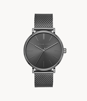 Michael Kors Auden Three-Hand Gunmetal Stainless Steel Watch