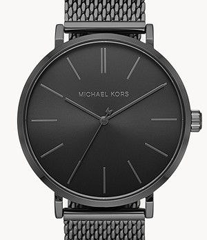 Michael Kors Auden Three-Hand Black Stainless Steel Watch