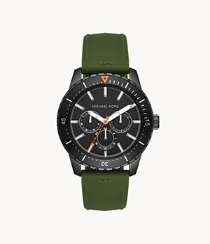Michael Kors Cunningham Multifunction Olive Silicone Watch