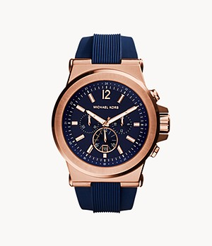 Michael Kors Men's Rose Gold-Tone Navy Dylan Watch