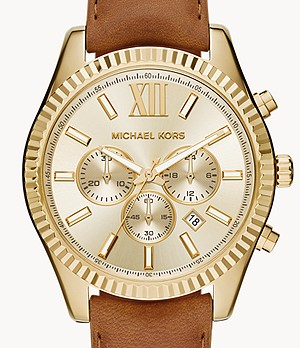 Michael Kors Men's Lexington Chronograph Brown Leather Watch